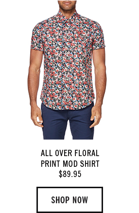 ALL OVER FLORAL PRINT MOD SHIRT