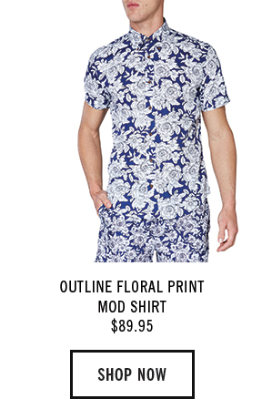 OUTLINE FLORAL PRINT MOD SHIRT