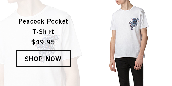 PEACOCK POCKET T-SHIRT WHITE