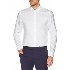 Image of Ben Sherman Australia BRIGHT WHITE TEXTURED CAMDEN BUSINESS SHIRT