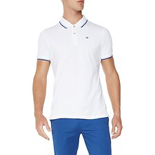 Image of Ben Sherman Australia WHITE/BLUE THE ROMFORD POLO
