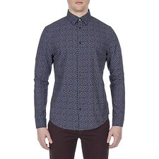 Image of Ben Sherman Australia DARK NAVY MICRO TWILL FLORAL SHIRT