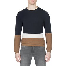 Picture of TEXTURED COLOUR BLOCK CREW NECK KNIT