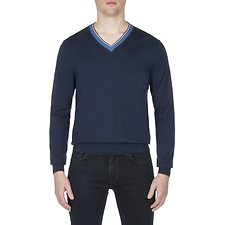 Picture of COTTON CASHMERE TIPPED V NECK KNIT