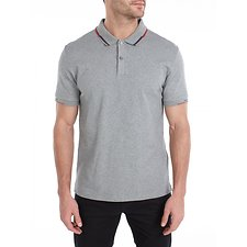 Image of Ben Sherman Australia SILVER GREY STOP START PLACED TIPPING POLO