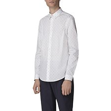 Image of Ben Sherman Australia WHITE STRETCH MICRO DOT SHIRT