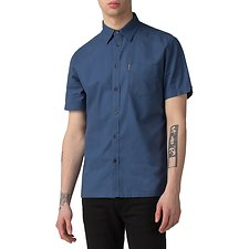 Image of Ben Sherman Australia BLUE EMBROIDERY BACK SHIRT