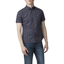 Image of Ben Sherman Australia BLUE PALM TREE PRINT SHIRT