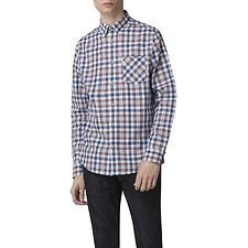 Image of Ben Sherman Australia WHITE CREPE TEXTURED CHECK SHIRT