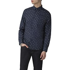 Image of Ben Sherman Australia NAVY PEACOCK FEATHER PRINT SHIRT