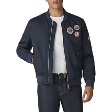 Image of Ben Sherman Australia DARK NAVY SATEEN BADGE BOMBER