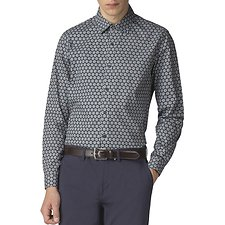 Image of Ben Sherman Australia DUSKY BLUE RETRO WALLPAPER PRINT SHIRT