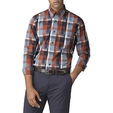 Image of Ben Sherman Australia BURNT ORANGE BLOCKED CHECKERBOARD SHIRT