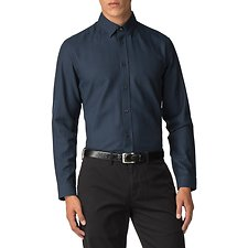Image of Ben Sherman Australia DARK NAVY HERRINGBONE POLKA SHIRT