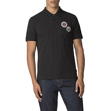 Image of Ben Sherman Australia BLACK EMBROIDERED BADGE POLO