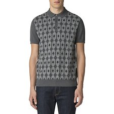 Image of Ben Sherman Australia DARK GREY BIRDSEYE JACQUARD KNIT POLO
