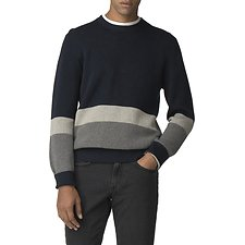 Image of Ben Sherman Australia DARK NAVY COLOUR BLOCK CREW NECK KNIT