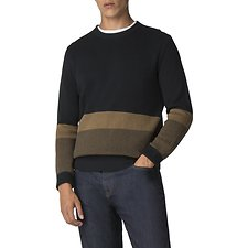 Image of Ben Sherman Australia BLACK COLOUR BLOCK CREW NECK KNIT