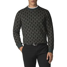 Image of Ben Sherman Australia DARK GREEN OWL ALL OVER KNIT