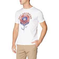 Image of Ben Sherman Australia WHITE RECORD FLOWER T-SHIRT