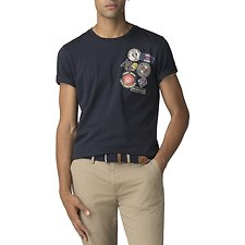 Image of Ben Sherman Australia DARK NAVY BADGE CHEST T-SHIRT