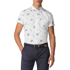Image of Ben Sherman Australia SNOW WHITE BEN SHERMAN X KEITH MOON DRUM PRINT SHIRT