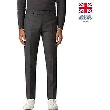 Image of Ben Sherman Australia CHARCOAL BRITISH CREPE WEAVE GINGHAM TROUSER