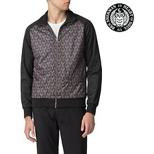 Image of Ben Sherman Australia BLACK LONDON RUNWAY PRINTED OWL TRACK TOP