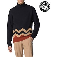Image of Ben Sherman Australia BLACK LONDON RUNWAY LAMBSWOOL ROLL NECK KNIT