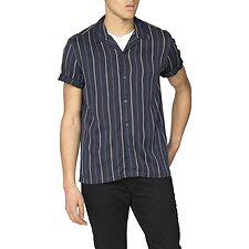 Image of Ben Sherman Australia DARK NAVY SATIN STRIPE SHIRT