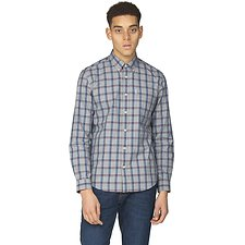 Image of Ben Sherman Australia DARK NAVY SLUB STRIPE CHECK SHIRT