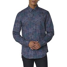 Image of Ben Sherman Australia DARK BLUE TROPICAL GEO PRINT SHIRT