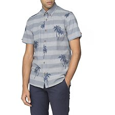Image of Ben Sherman Australia DARK BLUE STRIPED PALM PRINT SHIRT
