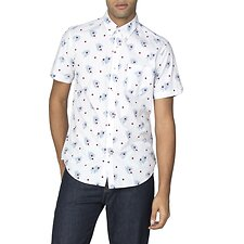 Image of Ben Sherman Australia SNOW WHITE SCATTERED PALM SHIRT