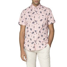 Image of Ben Sherman Australia LIGHT PINK SCATTERED PALM SHIRT