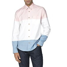 Image of Ben Sherman Australia LIGHT PINK COLOUR BLOCK OXFORD SHIRT