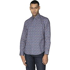 Image of Ben Sherman Australia DARK BLUE MICRO TROPIC FLORAL SHIRT
