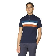 Image of Ben Sherman Australia NAVY ZIP TURTLE NECK KNITTED POLO KNIT