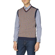 Image of Ben Sherman Australia NAVY PATTERN FRONT KNITTED VEST