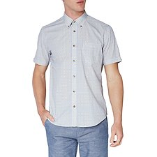 Image of Ben Sherman Australia BRIGHT BLUE STRIPE TARGET PRINT MOD SHIRT