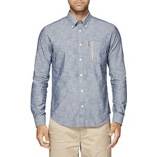 Image of Ben Sherman Australia BLUE CHAMBRAY PKT STRIPE MOD SHIRT