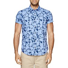 Image of Ben Sherman Australia BLUE DEPTHS FLORAL SHADOW MOD SHIRT