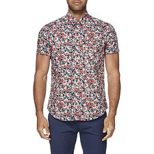 Image of Ben Sherman Australia BLUE DEPTHS ALL OVER FLORAL PRINT MOD SHIRT