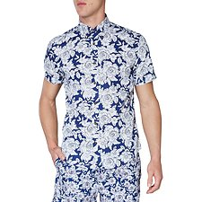 Image of Ben Sherman Australia BLUE DEPTHS OUTLINE FLORAL PRINT MOD SHIRT