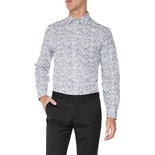 Image of Ben Sherman Australia STAPLES NAVY FLORAL OUTLINE KINGS  SHIRT