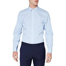 Image of Ben Sherman Australia LIGHT BLUE STRIPE GINGHAM CAMDEN  SHIRT