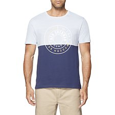 Image of Ben Sherman Australia LIGHT BLUE MARL STRIPE PANEL GRAPHIC T-SHIRT