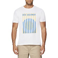Image of Ben Sherman Australia BRIGHT WHITE MOD TARGET STRIPE T-SHIRT