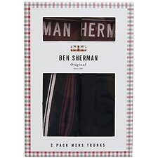 Image of Ben Sherman Australia BLACK/WINE BOLTON 2 PACK TRUNKS
