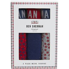 Image of Ben Sherman Australia GREY/RED BILSBY 3 PACK TRUNKS